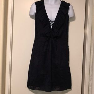 Tory Burch, Silk and Navy, Size 2 Ruffle Dress,EUC